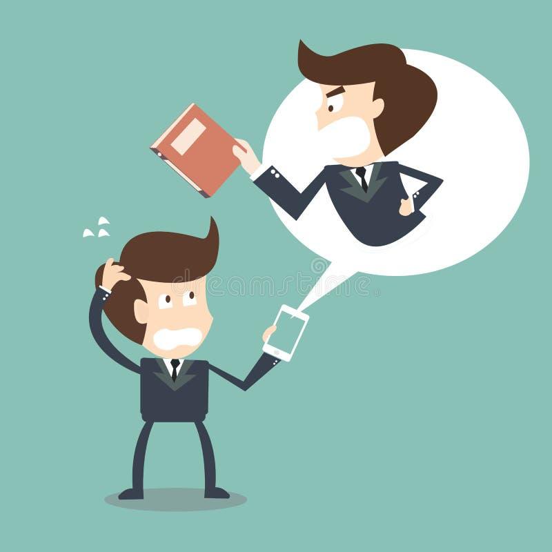 Download Jefe Enojado En Su Hombre De Negocios Del Teléfono Móvil Stock de ilustración - Ilustración de fondo, concepto: 42440817