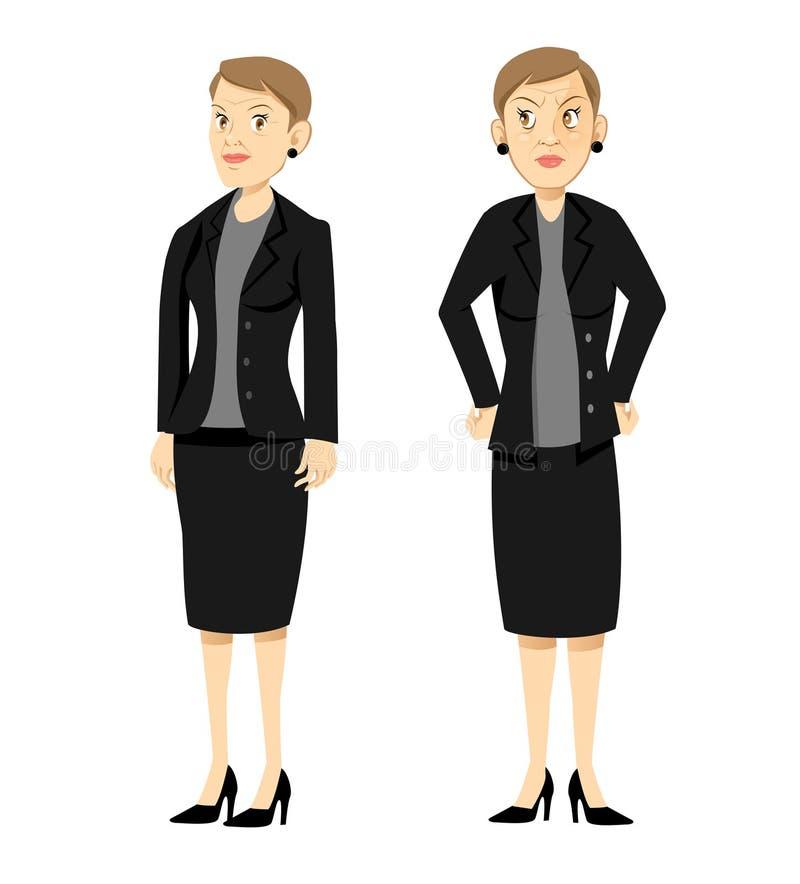 Jefe femenino enojado stock de ilustración