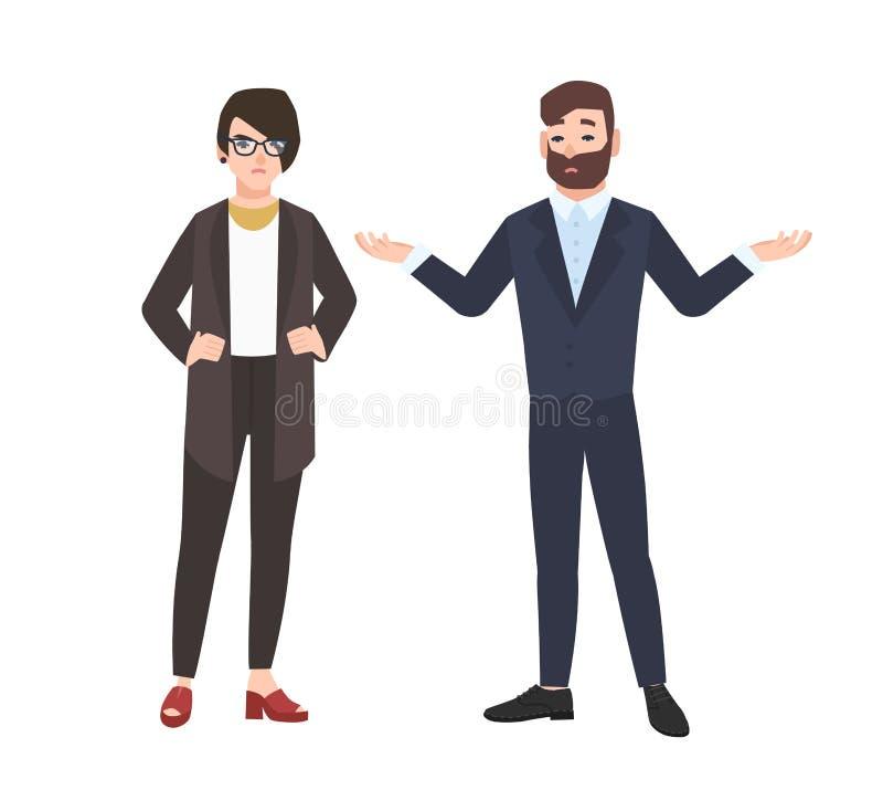 Jefe femenino gruñón y empleado de sexo masculino aislados en el fondo blanco Jefe o director enojado que critica o que reprende stock de ilustración