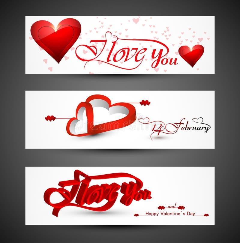 Jefe hermoso colorido para las banderas del corazón del día de tarjeta del día de San Valentín stock de ilustración