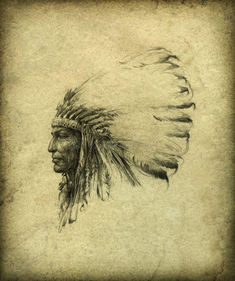 Jefe indio americano stock de ilustración