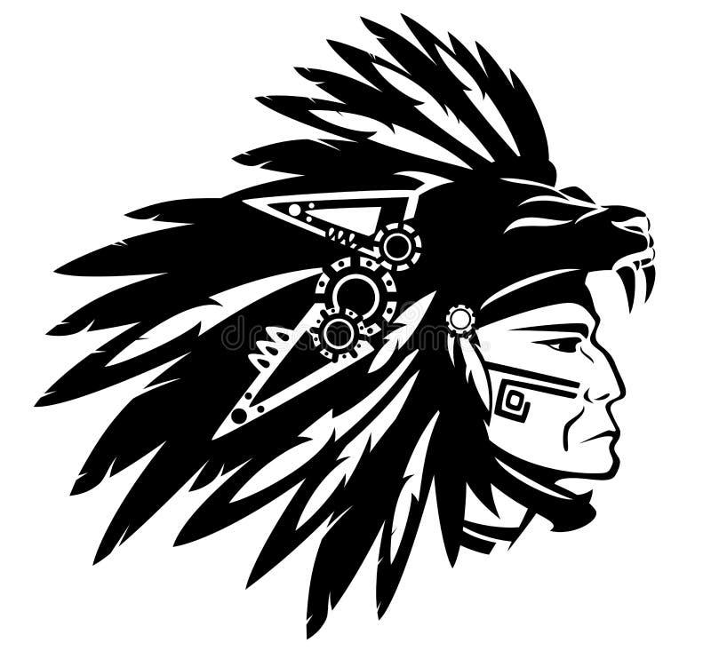 Jefe indio azteca stock de ilustración