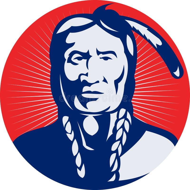 Jefe indio del nativo americano stock de ilustración