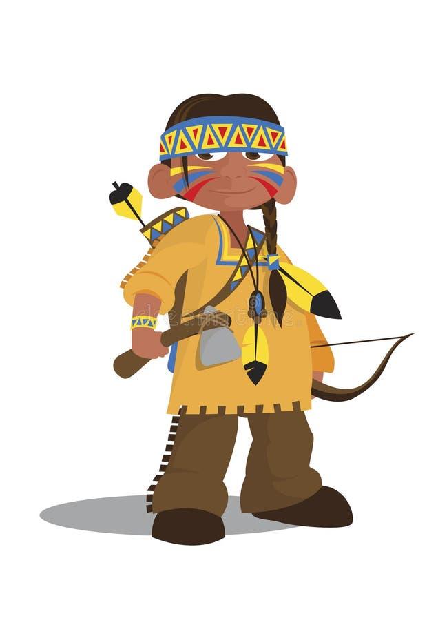 Jefe indio del nativo americano ilustración del vector