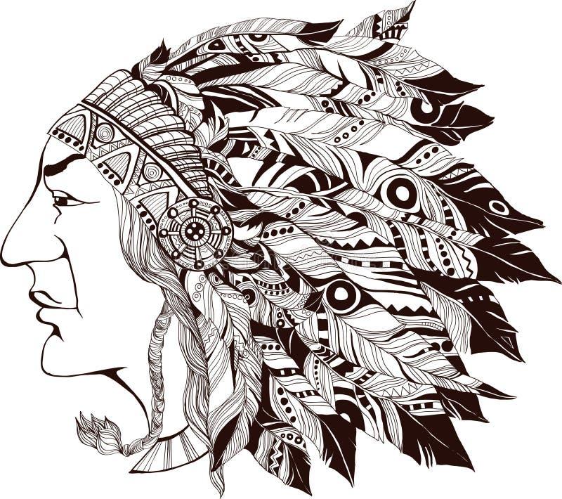 Jefe indio norteamericano - ejemplo ilustración del vector