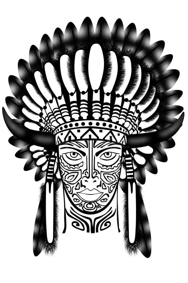 Jefe indio que desgasta el tocado tradicional ilustración del vector