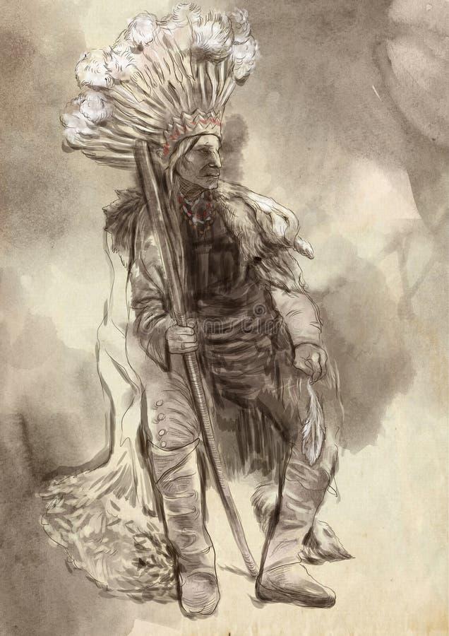 Jefe indio, retrato de un nativo americano del norte libre illustration