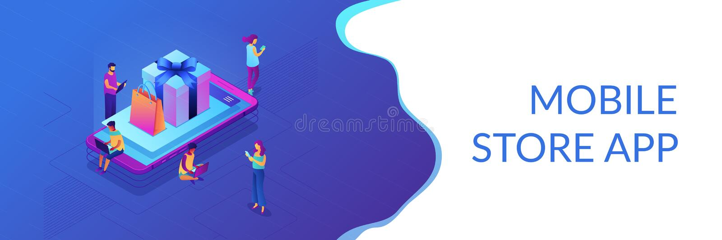 Jefe isométrico de la bandera 3D del app de la tienda móvil stock de ilustración