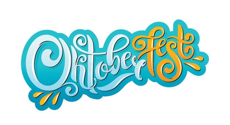 Jefe manuscrito de las letras de Oktoberfest Diseño del vector del título de la tipografía de Oktoberfest stock de ilustración