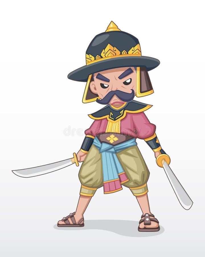 Jefe militar tailandés antiguo que se coloca con el ejemplo dual de la espada ilustración del vector