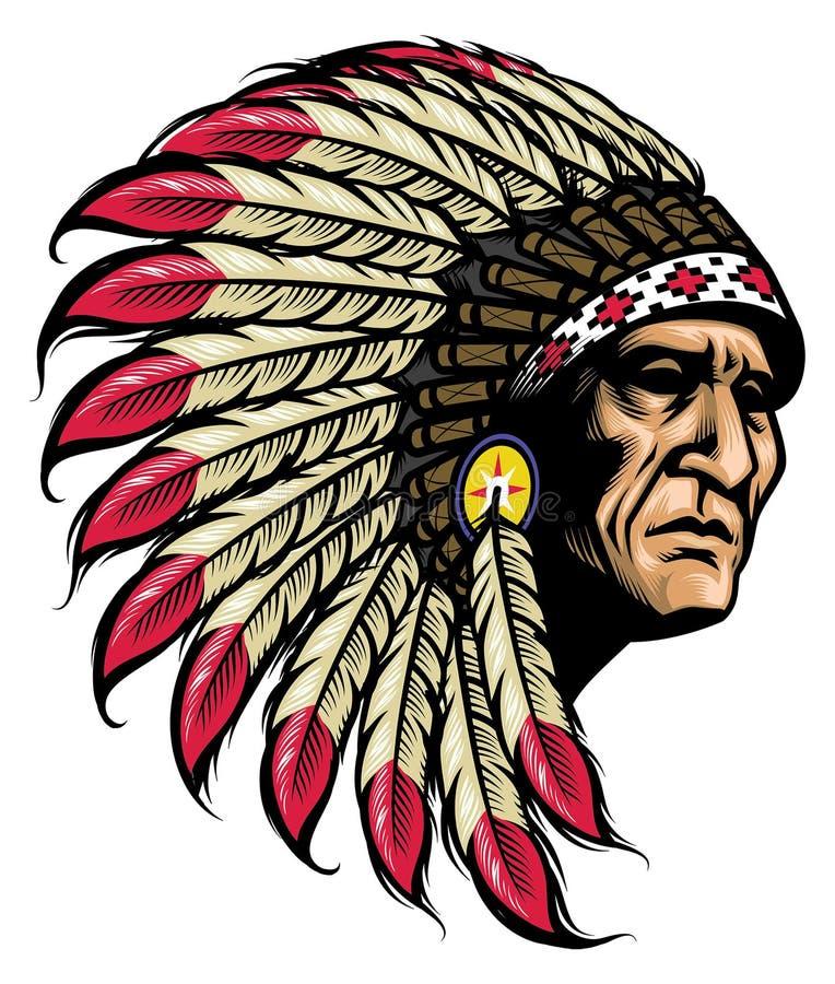Jefe nativo americano stock de ilustración