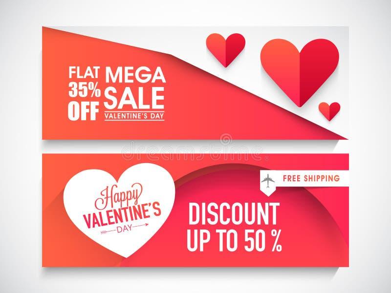 Jefe o bandera del web de la venta para el día de tarjeta del día de San Valentín ilustración del vector