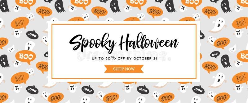 Jefe o bandera fantasmagórico del sitio web con los fantasmas asustadizos de Halloween Grande para la bandera, vale, oferta, cupó stock de ilustración