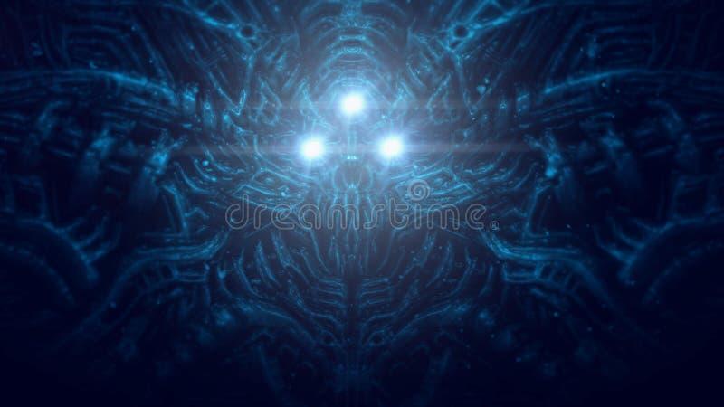 Jefe terrible del cráneo del organismo cibernético con los alambres y los mecanismos debajo del agua stock de ilustración