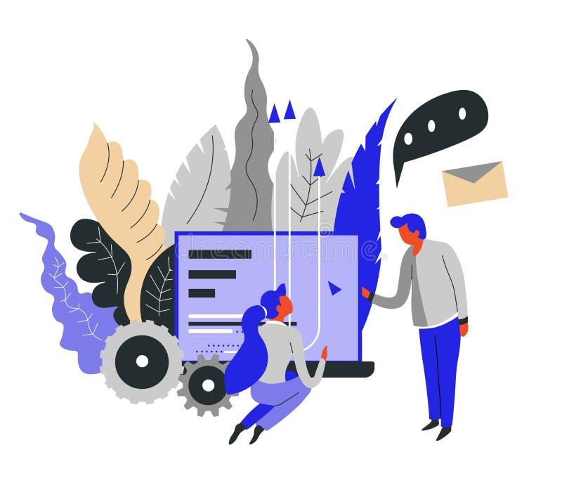 Jefe y secretaria de la mensajería de la comunicación empresarial y de la correspondencia ilustración del vector