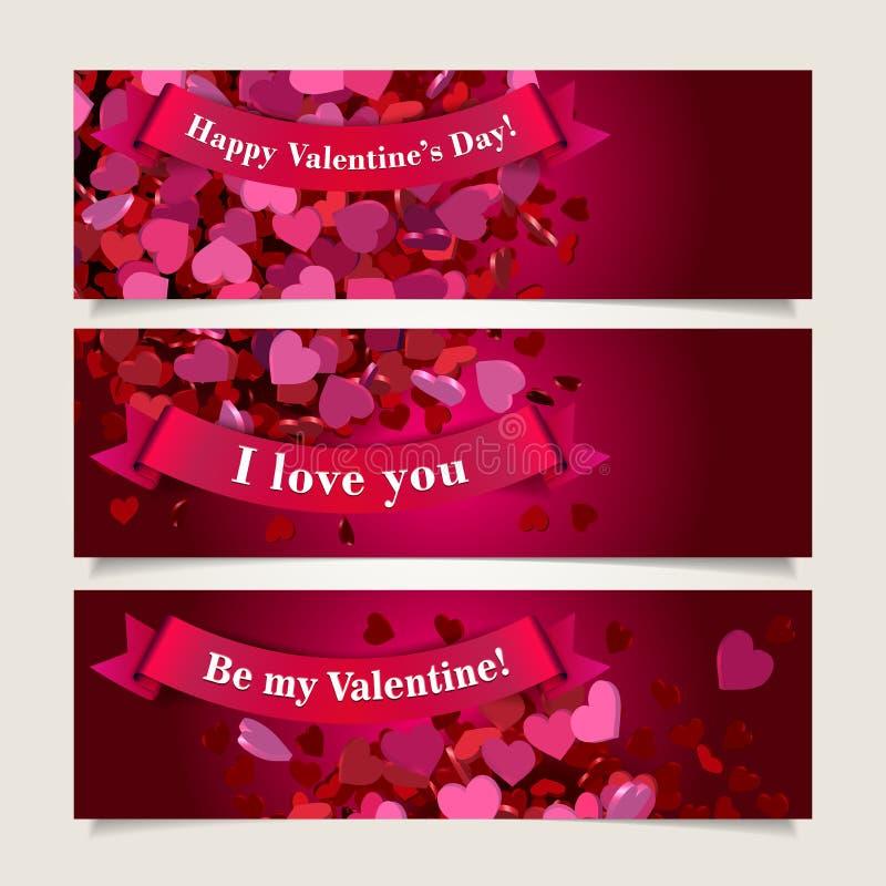 Jefes de la tarjeta del día de San Valentín fijados libre illustration
