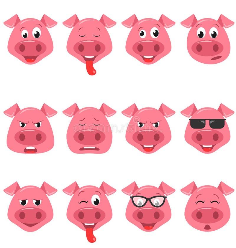 Jefes de los caracteres divertidos frescos del Emoticon del cerdo, emociones felices, frescas, enojadas, cansadas Fije a los avat libre illustration