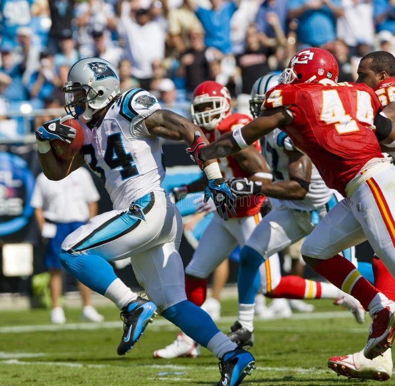 Jefes del NFL Kansas City contra las panteras de Carolina imagen de archivo libre de regalías