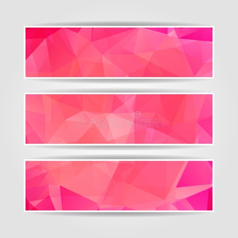 Jefes poligonales triangulares modernos rosados abstractos stock de ilustración