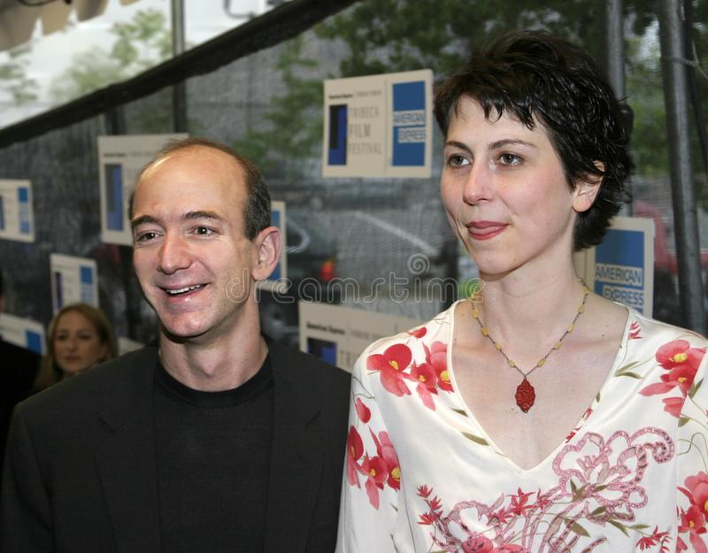Jeff Bezos and MacKenzie Bezos. Jeff Bezos and wife MacKenzie Bezos arrive at the 2nd Tribeca Film Festival in lower Manhattan on May 11, 2003. Mrs. Bezos is a royalty free stock image
