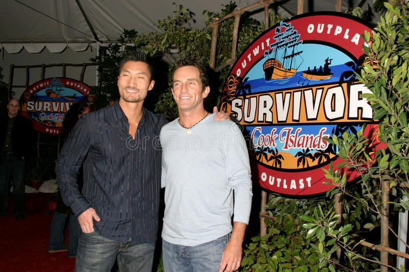Jeff Probst, Kwon. Winner Yul Kwon, and Jeff Probst Surviver Cook Islands Finale CBS Television City Los Angeles, CA December 17, 2006 stock image