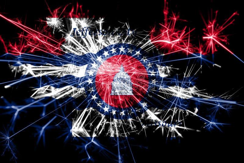 Jefferson City, bandera chispeante de los fuegos artificiales de Missouri Concepto del Año Nuevo 2019 y de la fiesta de Navidad ilustración del vector