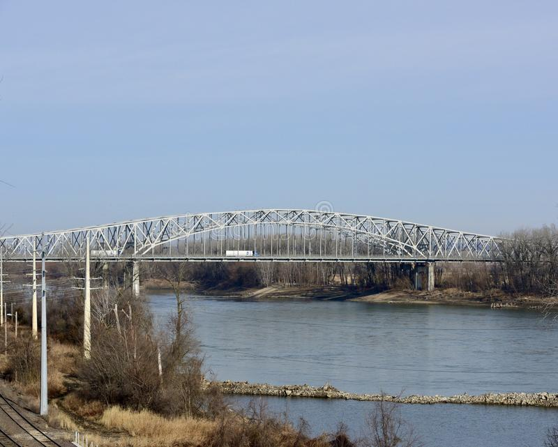 Jefferson City Bridge. This is a Winter picture of the iconic Jefferson City Bridge over The Missouri River, located in Jefferson City, Missouri in Cole County stock photo