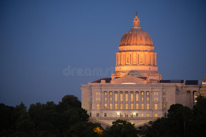 Jefferson City Missouri Capital Building Downtown Sunset Architecture. The lights come up as the sun fades on the capital building downtown Jefferson City royalty free stock photos