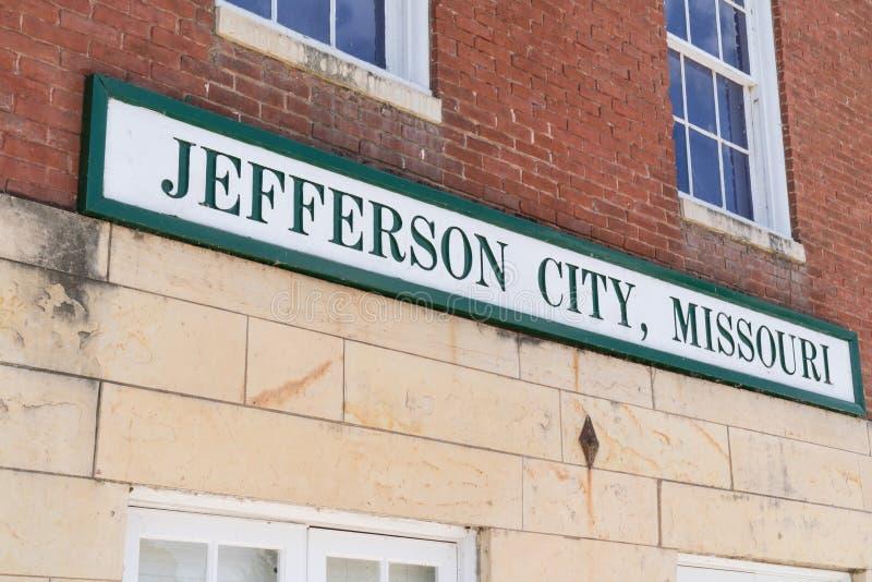 Jefferson City, Missouri Sign. JEFFERSON CITY, MO - JUNE 20, 2018: Jefferson City, Missouri Sign at the historic train station royalty free stock photo