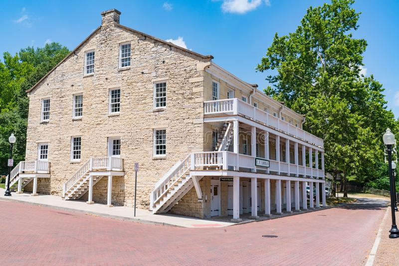 Lohman Building at the Jefferson Landing Historic Museum. JEFFERSON CITY, MO - JUNE 20, 2018: The Lohman Building at the Jefferson Landing Historic Museum dates stock photography
