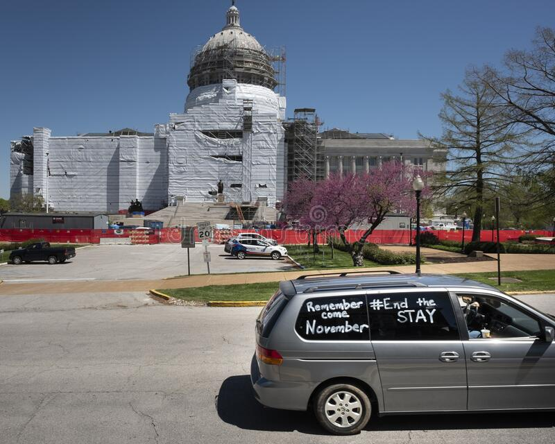 JEFFERSON CITY, UNITED STATES - Apr 21, 2020: Protest to reopen the state at Missouri State Capital. JEFFERSON CITY, UNITED STATES - Apr 21, 2020: These photos stock photos