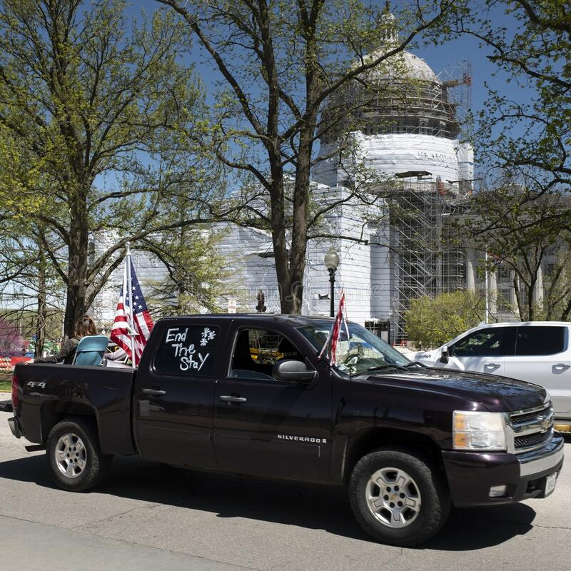 JEFFERSON CITY, UNITED STATES - Apr 21, 2020: Protest to reopen the state at Missouri State Capital. JEFFERSON CITY, UNITED STATES - Apr 21, 2020: These photos stock image