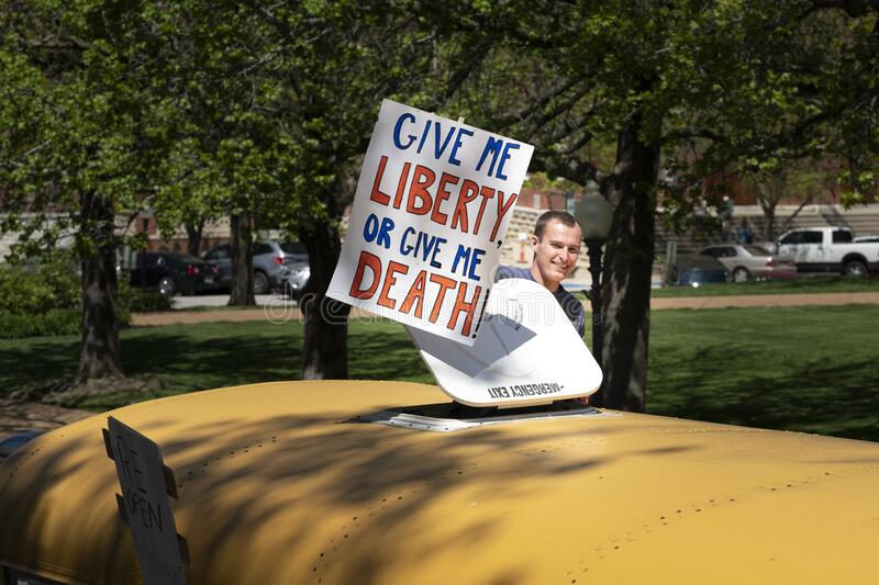 JEFFERSON CITY, UNITED STATES - Apr 21, 2020: Protest to reopen the state at Missouri State Capital. JEFFERSON CITY, UNITED STATES - Apr 21, 2020: These photos royalty free stock photos