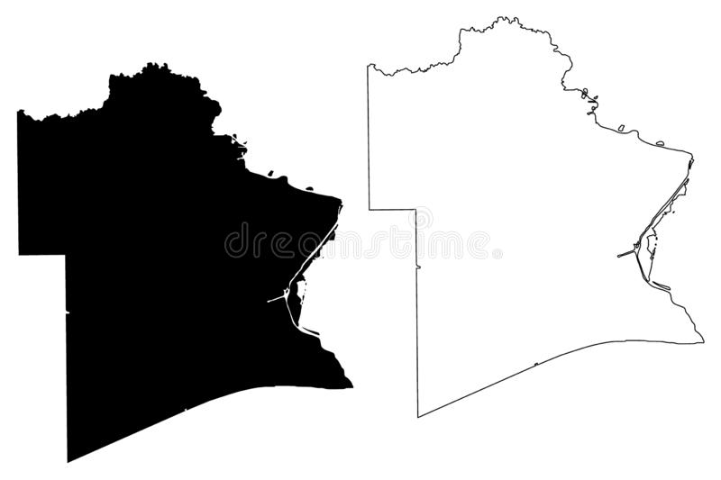Jefferson County, Texas Counties in Texas, United States of America,USA, U.S., US map vector illustration, scribble sketch. Jefferson map stock illustration
