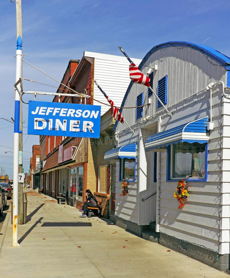 Jefferson Diner, staromodna amerykańska restauracja w Jefferson, Ohio, USA fotografia stock