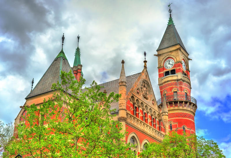 Jefferson Market Library, a public library in New York, United States. Jefferson Market Library, a public library in New York - Manhattan, United States stock images