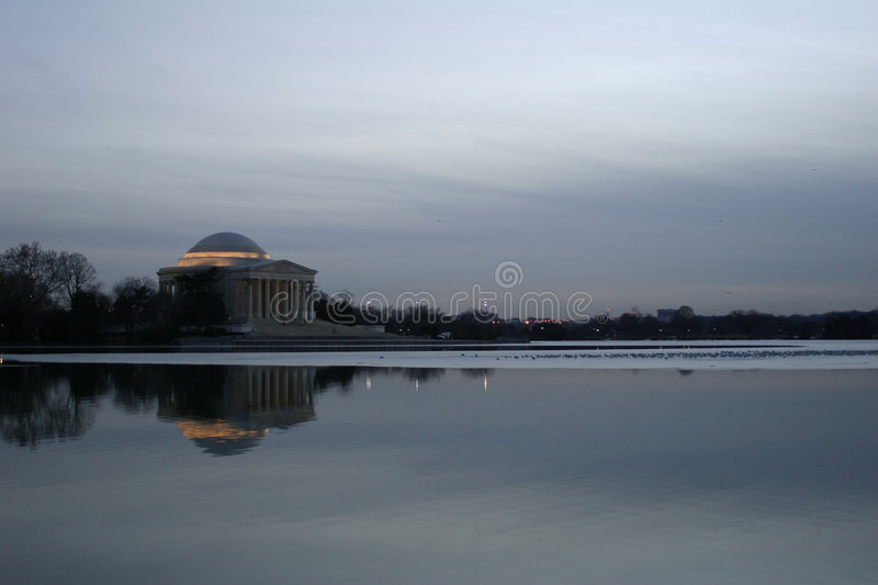 Download Jefferson memorial stock image. Image of water, city, night - 151841