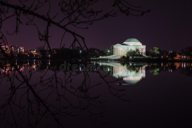 Jefferson Memorial Against Night Sky royalty-vrije stock afbeeldingen