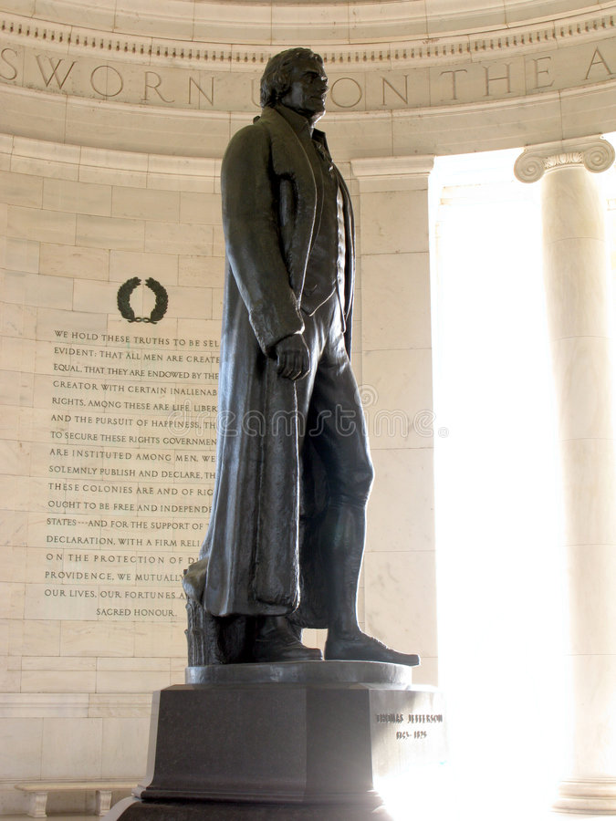 Jefferson Memorial Bronze Statue in Washington DC stock image
