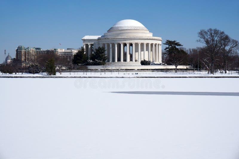 Jefferson Memorial en hiver images libres de droits