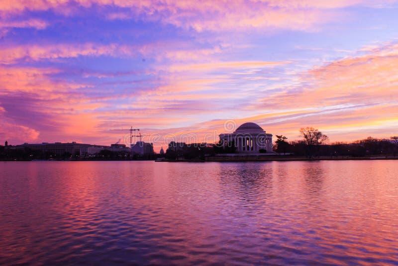 Jefferson memorial sunrise stock photography
