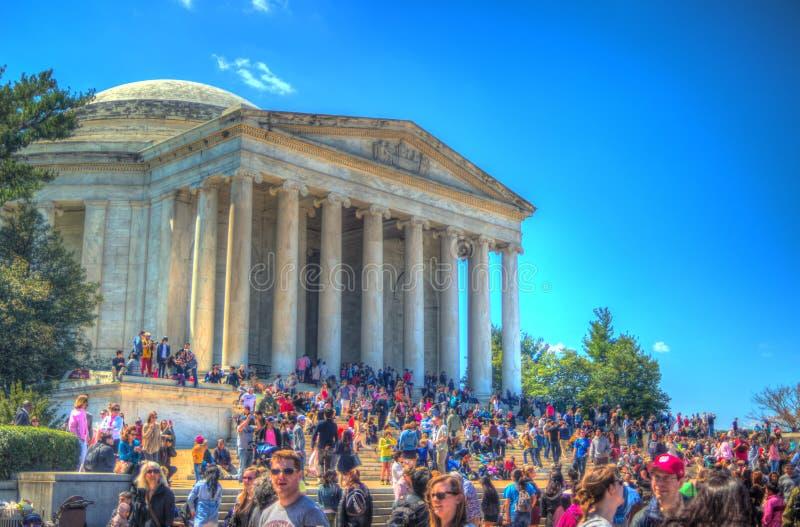 Jefferson pomnik podczas Czereśniowego okwitnięcia festiwalu obraz royalty free