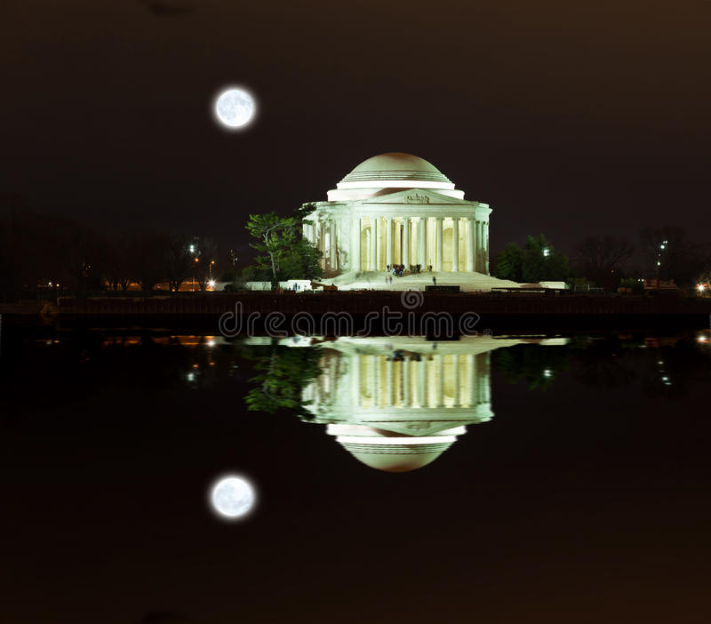 Jefferson pomnik przy nocą zdjęcia royalty free