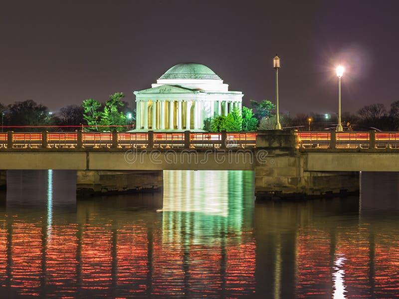 Jefferson pomnik przy nocą obraz royalty free