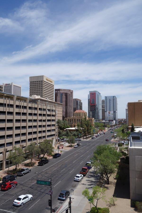 Jefferson Road a leste, Phoenix, AZ imagens de stock