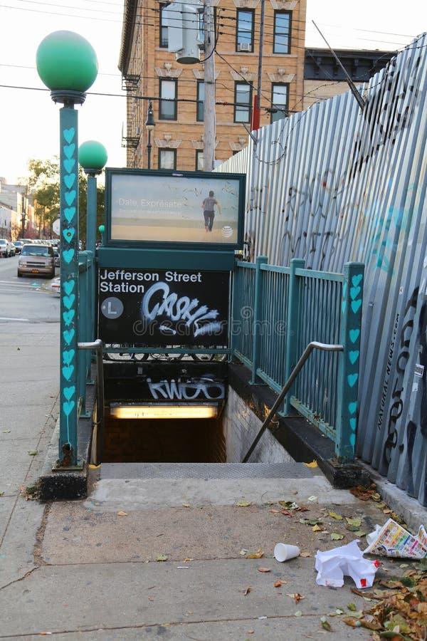 Jefferson Street Subway Station em Brooklyn imagem de stock