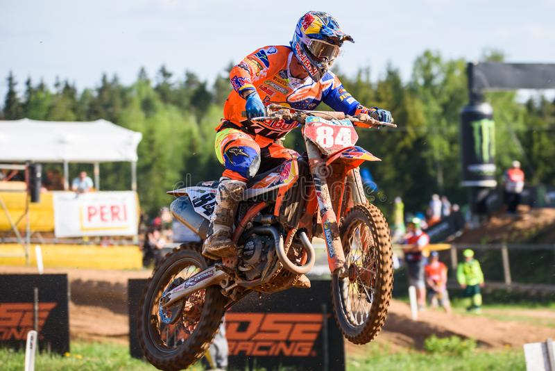 Jeffrey Herlings, in action, during FIM MXGP Grand Prix of Latvia royalty free stock image