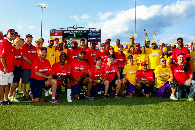 2014 Jeffrey Osborne Foundation Softball Game Team Picture. The celebrities gather to take a team picture before the start of the softball game to benefit the royalty free stock photo