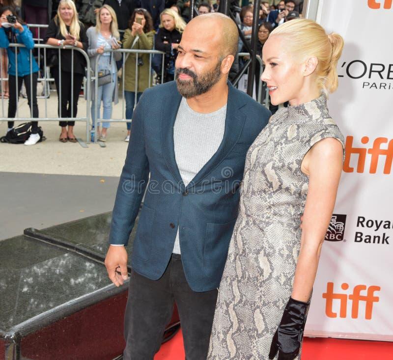 Jeffrey Wright en Jena Malone bij première van ` Openbare ` bij Internationaal de Filmfestival 2018 van Toronto royalty-vrije stock foto's