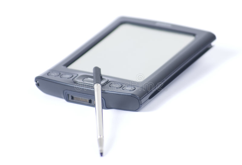 jego palmtopa długopis. fotografia royalty free